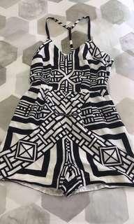 Kookai black and white geometric print playsuit