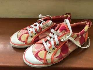 Preloved Coach Barrett Signature Sneakers in Coral Red Yellow White