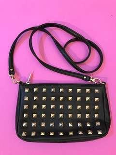 Forever 21 - Leather Studs Bag Crossbody (Black & Gold)