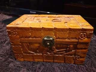 Chinese wood carved box with brass fitting