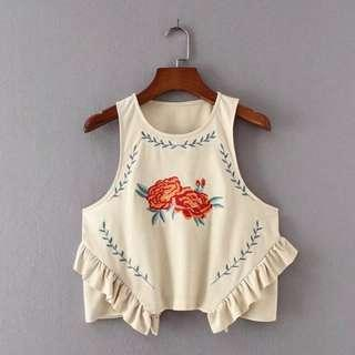 Embroidered suede floral top