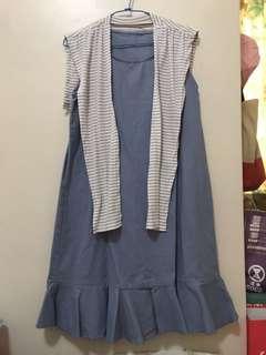 🚚 藍色背心洋裝