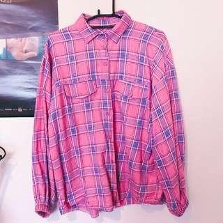 🚚 螢光粉格子襯衫
