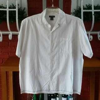 BANANA REPUBLIC Short Sleeve Polo White With Black Stitching XL