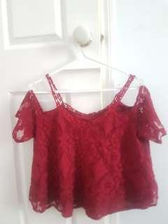 Maroon/dark red lace strap off shoulder top