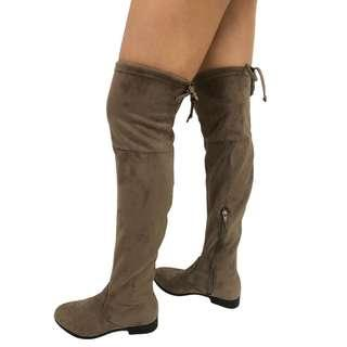 long boots with defects Grey suede shoes EUR 39 女靴 長靴 有瑕疵 平賣 大腿靴 No.51