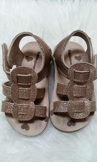 #sharethelove Sepatu Sandal Gold Glitter Anak kaos kaki