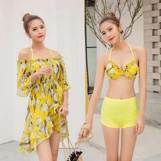 3-Piece Bikini Set: Sunshine Yellow Floral (LAST INSTOCK)