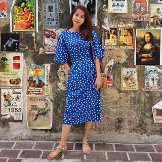 Polka dot Blue Vintage dress