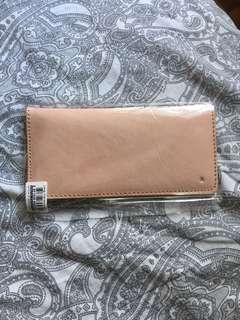 🚚 Salmon pink/beige real leather wallet card holder