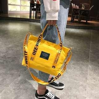 Korean OFF WHITE Canvas Shoulder Tote Bags / Sling Bags