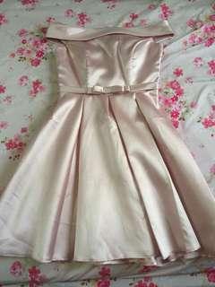 Pink bride's dress