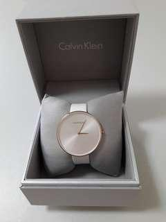 Calvin Klein Full Moon Leather Rose Gold Ladies Watch