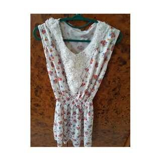 jual dress motif bunga warna merah