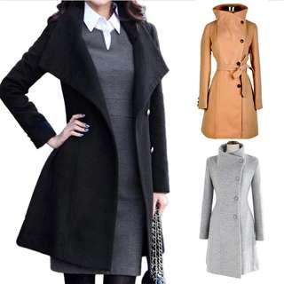 trench Coat 清貨 毛呢大衣 女外套 風褸 Long sleeve Ladies Furry Upright Collar Belted Jacket 0035#