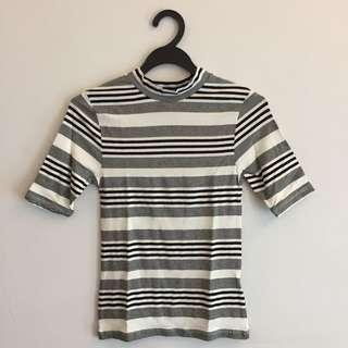 BN Topshop Sleeved High Neck Top in Stripes
