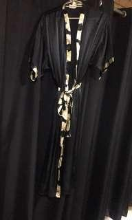 Silk style black and floral robe