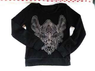 Knitted black longsleeve top