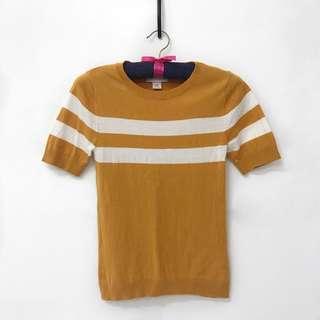 Monki Mustard Yellow Striped Top