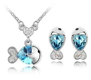 🚚 Swarovski elements crystal lucky fish necklace earring set