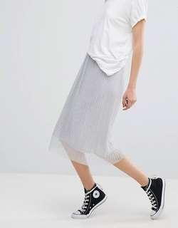 Pull&bear pleated metallic midi skirt