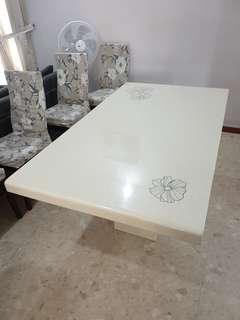 Floral design marble dining table