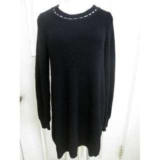 🚚 專櫃0918 針織毛料長版上衣 後綁袋蕾絲美感設計