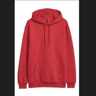 男士紅色寬鬆衛衣 H&M men red hoodies #fashion#style