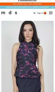 🚚 New MDS Amaris collared cheongsam top in black for sale !