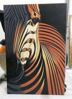 Zebra on oil painting