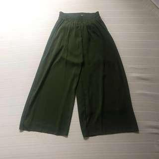 OLIVE GREEN HIGHWAISTED TROUSERS CULOTTES  FITS 24-28