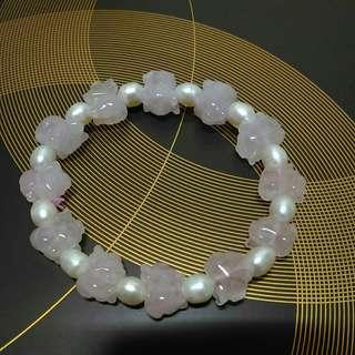 芙蓉粉晶小豬手鍊 搭天然珍珠