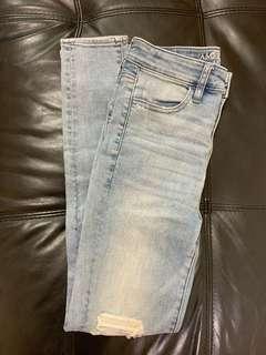 American Eagle super stretch淺藍色牛仔褲