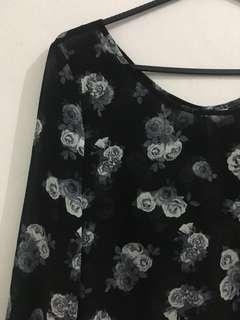 H&M Black Floral Sheer Blouse