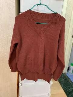 啡紅色 V領毛衣