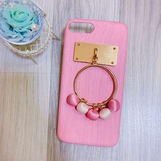 🚚 IPhone 7+/8+ 5.5吋 粉色 木紋 球球 硬殼 手機殼