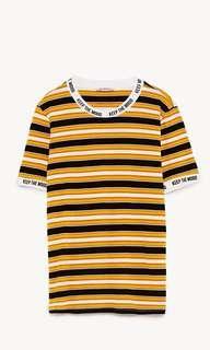 Zara Black&Yellow Stripe Top
