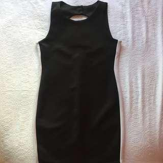 Little Black Dress with White Trim at sides for Slimming Effect