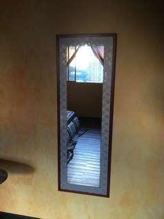 Wall mirror with hand made wooden frame, 137x47 cm