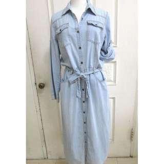 🚚 薄款仿牛仔 袖可反折 口袋長版洋裝 長洋裝