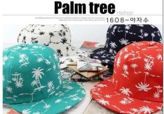 🚚 Adjustable navy blue hats with palm tree prints