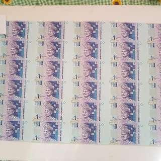 RM1 30 IN 1 UNC AA MALAYSIA UNCUT NOTE PAPER MONEY