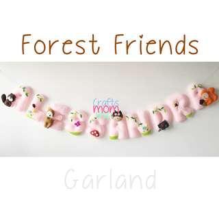 Forest Friends Felt Name Garland - Pink