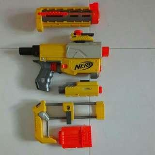 USED Nerf N-Strike Recon CS-6 with barrel butt and laser Hasbro TRU