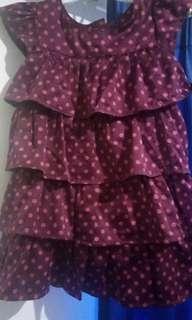 dress polkadot ungu baby gap