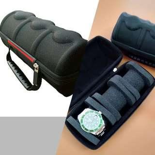 Triple Watch Carry/Travel/Storage Case (Black with Red Stripe Colour)