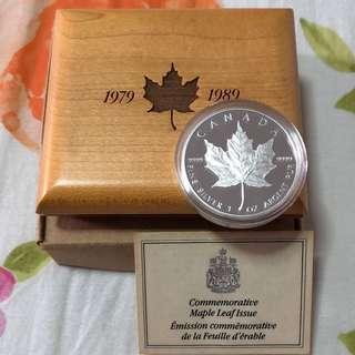 1989 Canada Maple Leaf Anniversary 1 Oz Silver Proof Coin