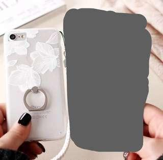 White Iphone 7+ flower clear casing with ring