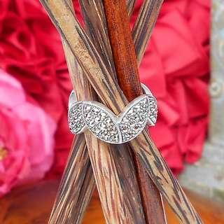 Authentic MARCASITE 925 SILVER Zig Zag Ring