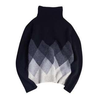 高領羊毛菱形幾何毛衣